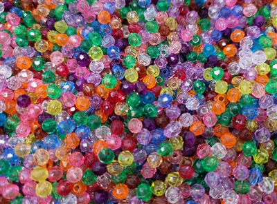 4mm Round Faceted Plastic Beads, 2,000 ct Bag