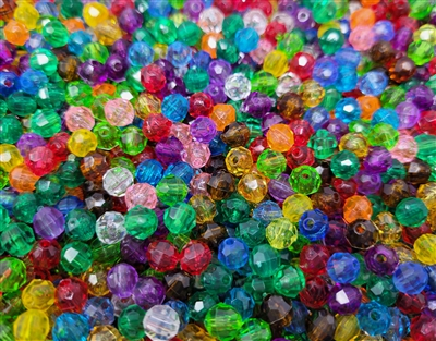 6mm Round Faceted Plastic Beads, 1,000 ct Bag
