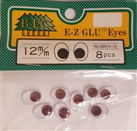 Pack of Brown 12mm Oval Wiggle Googly Eyes