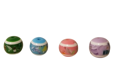 12mm Round Mosaic Confetti Resin Rainbow Beads 100ct Bag