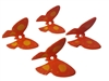 Set of 4 Orange Plastic Butterfly Beads