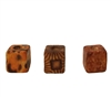 8MM Ethnic Patterned Cube Wood Beads 100ct Bag