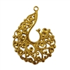 Filigree Spiral Scroll Gold Tone Metal Charm