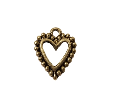 Hollow Heart Silver Pewter Charm