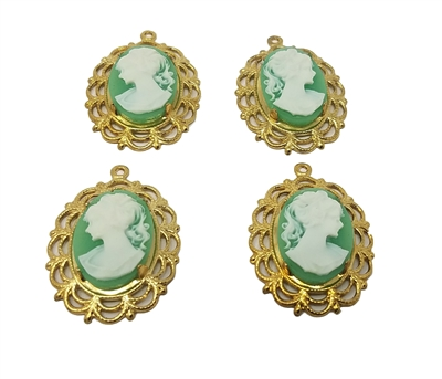 13mm x 18mm Resin Victorian Lady Cameos with Gold Lace Filigree Oval Frame Settings, Pack of 4
