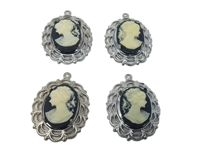 13mm x 18mm Resin Victorian Lady Cameos with Silver Lace Filigree Oval Frame Settings, Pack of 4