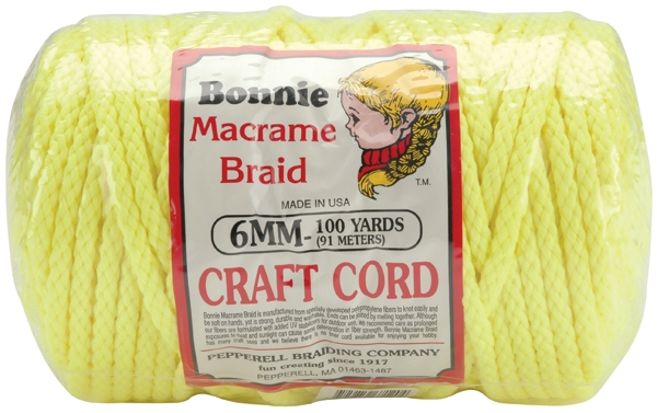 NEW Vintage 6 mm BRAIDED Macrame Cord Lot of 2-100 yds Cream Pink Green Brown
