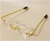 "Pair of 2"" Gold Metal Wire Rim Eye Glasses with Lenses for Dolls"
