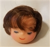 "2-1/2"" Brunette Boy Male Vinyl Doll Head with Closed Eyes"