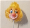 "1"" Clown Vinyl Doll Head on Wire Pick Stem"