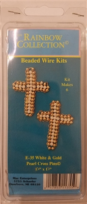 White & Gold Pearl Cross Pins Beaded Wire Kit
