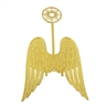 "Pair of 4"" Gold Metal Filigree Angel Wings with Halo"