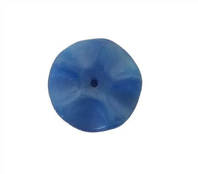 14mm Blue Wavy Disc Glass Beads, 8ct Bag