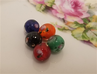 12mm Round Floral Glass Lampwork Beads, 8 ct Bag