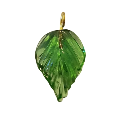 Light Green Pressed Leaf Glass Drop Charms, 4ct Bag