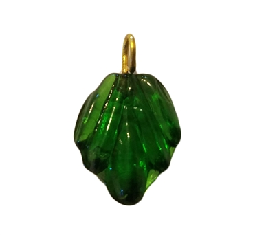 Emerald Green Pressed Leaf Glass Drop Charms, 4ct Bag