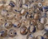 8mm Round Clear with Blue & Gold Leaf Design Glass Beads, 8ct Bag