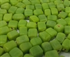 7mm Lime Green Glass Cube Beads, 12 ct Bag