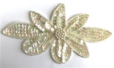 Large Flower Blossom Beaded Sequined Sew-On Applique