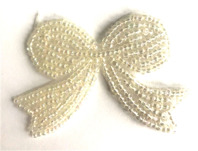 Medium Bow Beaded Sew-On Applique
