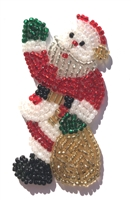 Santa Claus Christmas Beaded Sequined Sew-On Applique