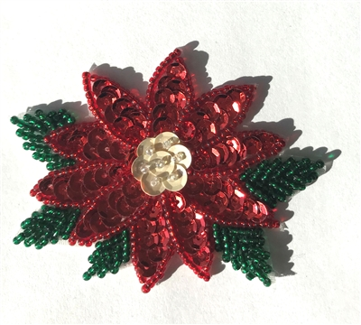 Poinsettia Christmas Beaded Sequined Sew-On Applique