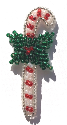 Candy Cane Christmas Beaded Sew-On Applique