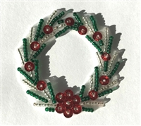 Small Christmas Wreath Beaded Sequined Sew-On Applique