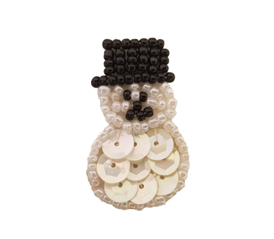 Miniature Snowman Christmas Beaded Sequined Sew-On Applique