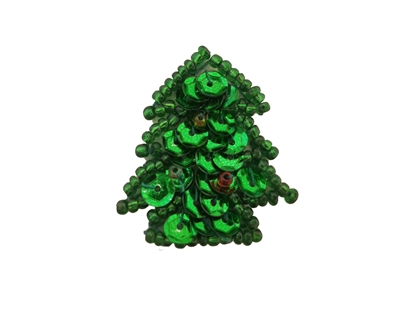 Miniature Christmas Tree Beaded Sequined Sew-On Applique