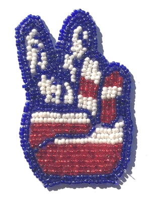 Peace Sign Beaded Sew-On Applique