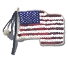 American USA Flag Beaded Sequined Sew-On Applique