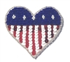 American USA Heart Beaded Sequined Sew-On Applique
