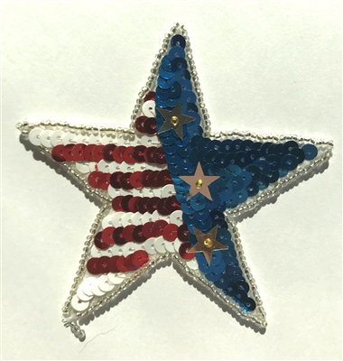 Patriotic USA Star Beaded Sequined Sew-On Applique