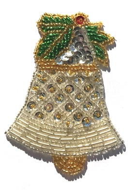 Christmas Bell Beaded Sequined Sew-On Applique