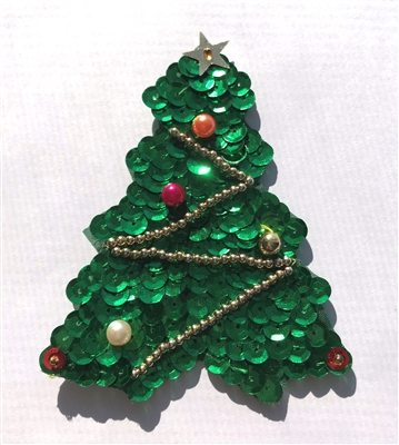 Medium Christmas Tree Beaded Sequined Sew-On Applique