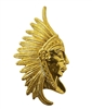 Native American Indian Chief Gold Tone Metal Charms