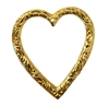 Hollow Heart Gold Tone Brass Plated Metal Charms