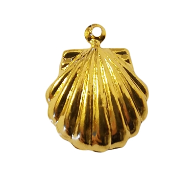 Gold Tone Metal Seashell Clam Shell Charms Jewelry Findings, 4 ct Bag