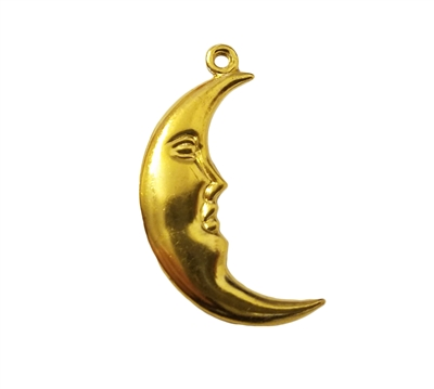 Crescent Man in The Moon Gold Tone Metal Jewelry Charms Findings