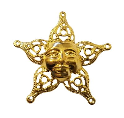 Gold Metal Filigree Smiling Sun Face