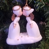 "2"" White Plastic Kissing Angel Couple Christmas Ornament"