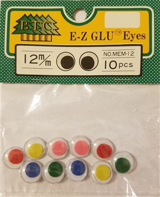 Pack of Multi-Color 12mm Round Wiggle Googly Eyes