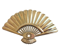 Oriental Fan Gold-Tone Plastic Craft Accent