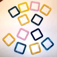 "Set of Fifty 3"" Square Plastic Rings - Assorted Colors"
