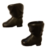 "Pair of 2"" Black Plastic Santa Claus Doll Boots"