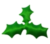 Green Holly Leaf Puffins Padded Satin Applique (10 pieces)