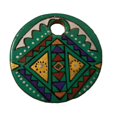 Green Southwestern Painted Round Resin Pendant