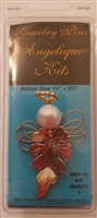Angelique Kits Gold Leaf Angel Beaded Jewelry Pin