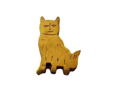 28mm Gold Painted Wood Carved Cat Shaped Beads, 4 ct. Bag